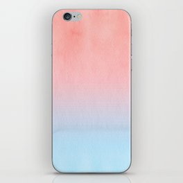 Coral Red And Blue Ombre iPhone Skin