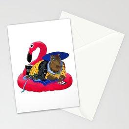Capybara Chilling on Pink Flamingo Swimming Circle Stationery Cards