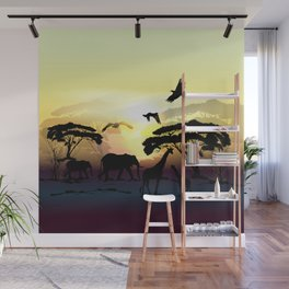 Savanna landscape with animals. African illustration Wall Mural