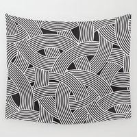 milan Wall Tapestries featuring Modern Scandinavian B&W Black and White Curve Graphic Memphis Milan Inspired by Season of Victory