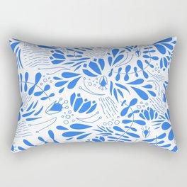 Flora in Blue Rectangular Pillow