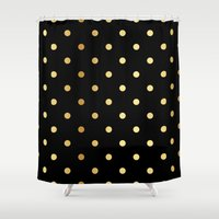 black and gold Shower Curtains featuring Black gold by Love&Muse