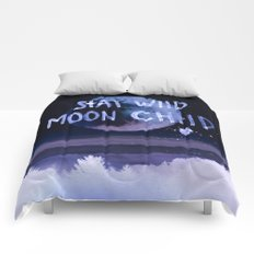 Stay wild moon child (purple) Comforters