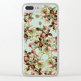 Vintage shabby green pink coral floral pattern Clear iPhone Case