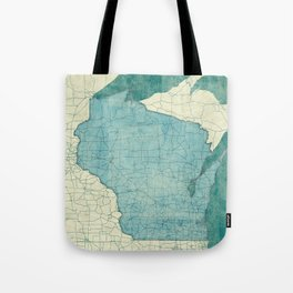 Wisconsin State Map Blue Vintage Tote Bag