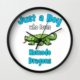 Komodo Dragon Shirt for Boys  Kids Komodo Dragon T-Shirt Wall Clock