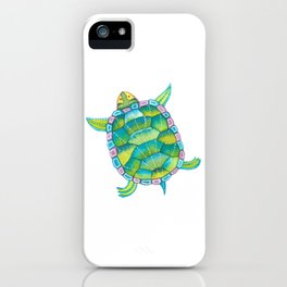 Tropical sea turtle - turquoise aqua blue iPhone Case