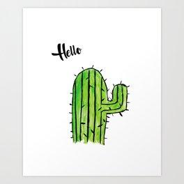 Hello Cactus Art Print