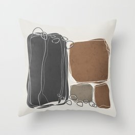 Retro Block Design in Cinnamon and Charcoal Gray Throw Pillow