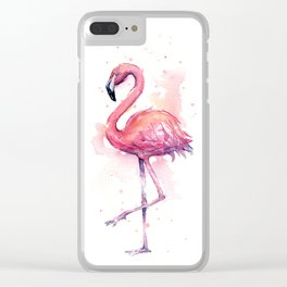 Pink Flamingo Watercolor Tropical Bird Clear iPhone Case