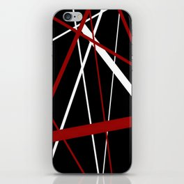 Red and White Stripes on A Black Background iPhone Skin
