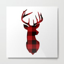 Plaid Deer - Cute Holiday Top - Ladies Baseball Tee - Red Raglan Shirt - Rustic Christmas Top - Wint Metal Print