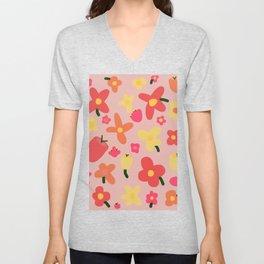 Pink Flowergram Unisex V-Neck