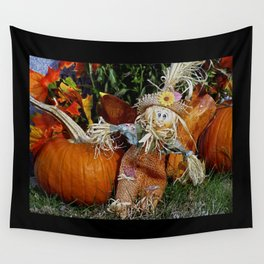 Cute Little Scarecrow and pumpkin Wall Tapestry
