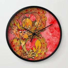 Chinese Dragon of Fortune Wall Clock
