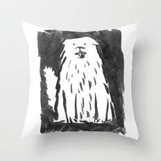 fluffy dog Throw Pillow