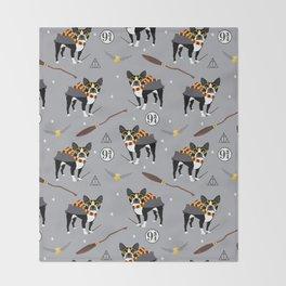 Boston Terrier witch wizard dog pattern gifts Throw Blanket