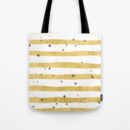 Modern hand painted yellow gold black watercolor splatters stripes Tote Bag
