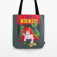 pulp Tote Bags featuring Pulp Mermaid by Pinfloi