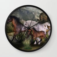 into the wild Wall Clocks featuring Wild by Illu-Pic-A.T.Art