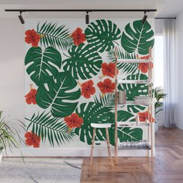 Tropical Leaves Hibiscus Flowers Wall Mural