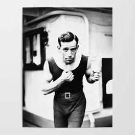 Vintage Boxer Photo Black & White Poster