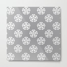 Gray Floral Checkered geometric pattern Metal Print
