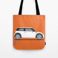 mini cooper Tote Bags featuring Mini Cooper by Aimee Liwag
