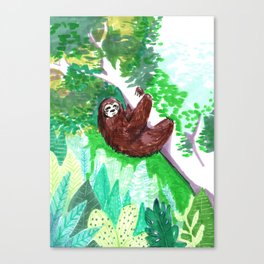 sloth forest Canvas Print