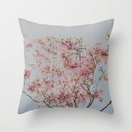 Pastel Pink Magnolias Throw Pillow