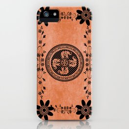 Indian Elephant Floral Hippie Bohemian Design On Orange iPhone Case