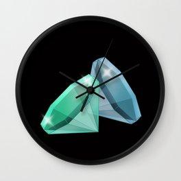 Precious blue and green stones . Wall Clock