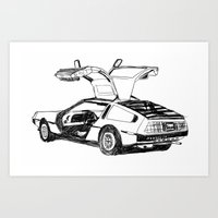 delorean Art Prints featuring DELOREAN by carolin walch