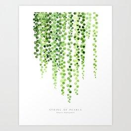 Watercolor string of pearls illustration Art Print