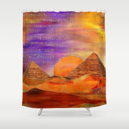 Egyptian pyramids abstract landscape Mixed Media Shower Curtain