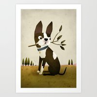 boston terrier Art Prints featuring Boston Terrier by Patrick Latimer