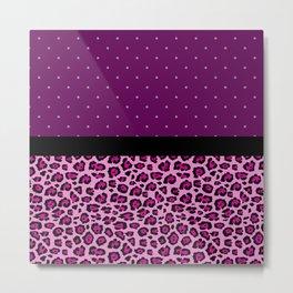 Pink Leopard Print Purple Polka Dots Metal Print