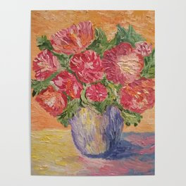 Vase With Peonies Oil Painting Poster