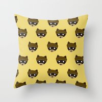 wes anderson Throw Pillows featuring Wes Racoon by mleko
