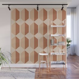 Hexagonal Pattern VII Terracotta Wall Mural