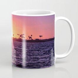 Mission Bay Palm Tree Sunset in San Diego, California Coffee Mug