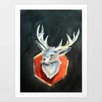 jackalope Art Prints featuring Jackalope by Danielle Guelbart