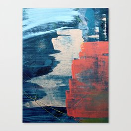 Deep Waters: a vibrant, minimal, abstract painting in pinks and blues by Alyssa Hamilton Art Canvas Print
