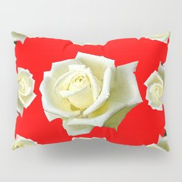 WHITE ROSES RED GARDEN DESIGN Pillow Sham
