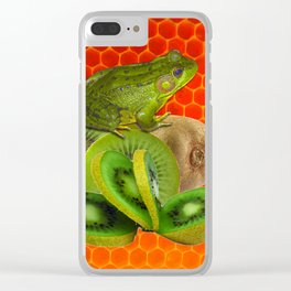 GREEN FROG & KIWI FRUIT PATTERNED RED ART Clear iPhone Case
