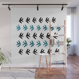 Simple black and blue marine fishes pattern Wall Mural