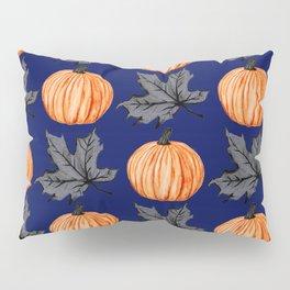Pumpkin Blue Autumn Leaf Pillow Sham