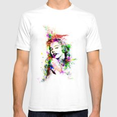 Monroe. SMALL White Mens Fitted Tee