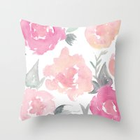 jenna kutcher Throw Pillows featuring Muted Floral Watercolor Design  by Jenna Kutcher