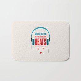 Lab No. 4 - Music Is Life.. That's Why Our Hearts Have Beats Motivational Quotes Poster Bath Mat